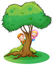 Two girls hiding at the tree illustration of on a white background Stock Image