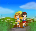 Two girls at the hilltop using their cellphones illustration of Royalty Free Stock Photo