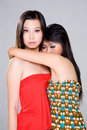 image photo : Two girls hugging
