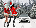 Two girls in the new year costumes stop the car cartoon Stock Photography