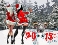 Two girls in the new year costumes stop the sheep in the winter snowy forest cartoon Royalty Free Stock Photo