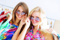 Two girls out shopping Royalty Free Stock Photo