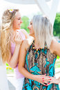 Two girls in the park young women having fun outdoors Royalty Free Stock Images