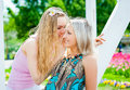 Two girls in the park young women whispering outdoors Stock Image