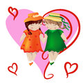 Two girls with pigtails in colored dresses and hats are holding hands, on a pink background, heart