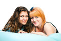 Two girls on pillow Royalty Free Stock Photography