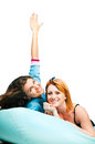 Two girls on pillow Royalty Free Stock Images