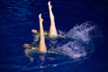 Two girls in pool performing at show olympic champions moscow dec synchronized swimming sports complex on december Royalty Free Stock Images
