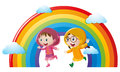 Two girls in raincoat running with rainbow in background