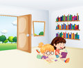 Two girls reading inside a room illustration of the Stock Image