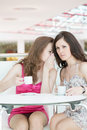 Two girls sitting in cafe Stock Photo