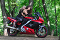 Two girls on a sport bike Royalty Free Stock Photo
