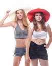 Two girls in summer hats Royalty Free Stock Photos