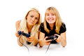 The two girls are unhappy with video games Royalty Free Stock Photography