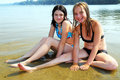 Two girls in water Royalty Free Stock Photos
