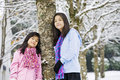 Two  girls in winter scene Royalty Free Stock Photos