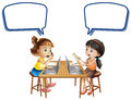Two girls working on computers with speech bubbles