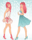 Two glamour girls Royalty Free Stock Images