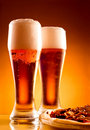 Two glass of beer and pizza Royalty Free Stock Photo