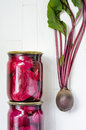 Two glass jars with canned beets Royalty Free Stock Photo
