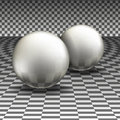 Two glass spheres on a gray background Stock Images
