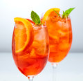Two glasses of aperol spritz cocktail Royalty Free Stock Photo