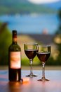 Two glasses and a bottle of red wine with view still life Royalty Free Stock Images