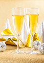 Two glasses of champagne with carnival mask Stock Photography