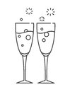 Two glasses of champagne. Icon in the line style