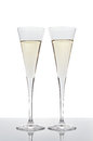 Two glasses of champagne isolated on white background with reflection Royalty Free Stock Image