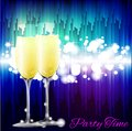 Two glasses of champagne may be used for invitation decoration or postcard Royalty Free Stock Image