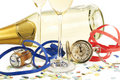 Two glasses with champagne, old pocket watch, stre Stock Image