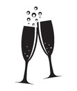 Two Glasses of Champagne Silhouette Vector Royalty Free Stock Photo