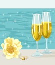 Two glasses of cold champagne flower and ring illustration with yellow rose with yellow brilliant shining ocean on background Stock Photos