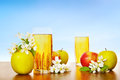 Two glasses of fresh apple juice with ripe apples against blue Royalty Free Stock Photo