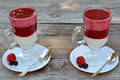 Two glasses full of delicious yogurt with fresh, juicy raspberry and blackcurrant on white plates Royalty Free Stock Photo