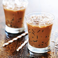Two glasses of iced coffee shot with selective foc us Royalty Free Stock Photo