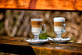 Two glasses of latte coffee beans Royalty Free Stock Photo