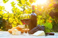 Two glasses of red wine and bottle cheese baguette Stock Photography