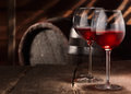 Two glasses of red wine on a table Royalty Free Stock Photo