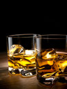 Two glasses whiskey rocks Royalty Free Stock Photography