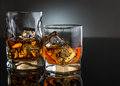 Two glasses with whisky Royalty Free Stock Photo