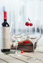 Two glasses of wine on the table Royalty Free Stock Image
