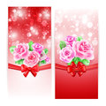 Two glowing banners with roses ribbon and bow Royalty Free Stock Photos