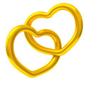 Two gold hearts together 3d Stock Photos