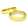 Two gold wedding rings isolated render on a white background Royalty Free Stock Photos