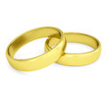 Two gold wedding rings isolated render on a white background Royalty Free Stock Images