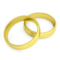 Two gold wedding rings isolated render on a white background Stock Photography