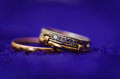 Two gold wedding rings. macro photo Stock Images