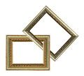 Two gold wood frames isoalted Stock Photography